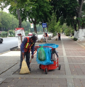 Daily street and sidewalk sweepers.