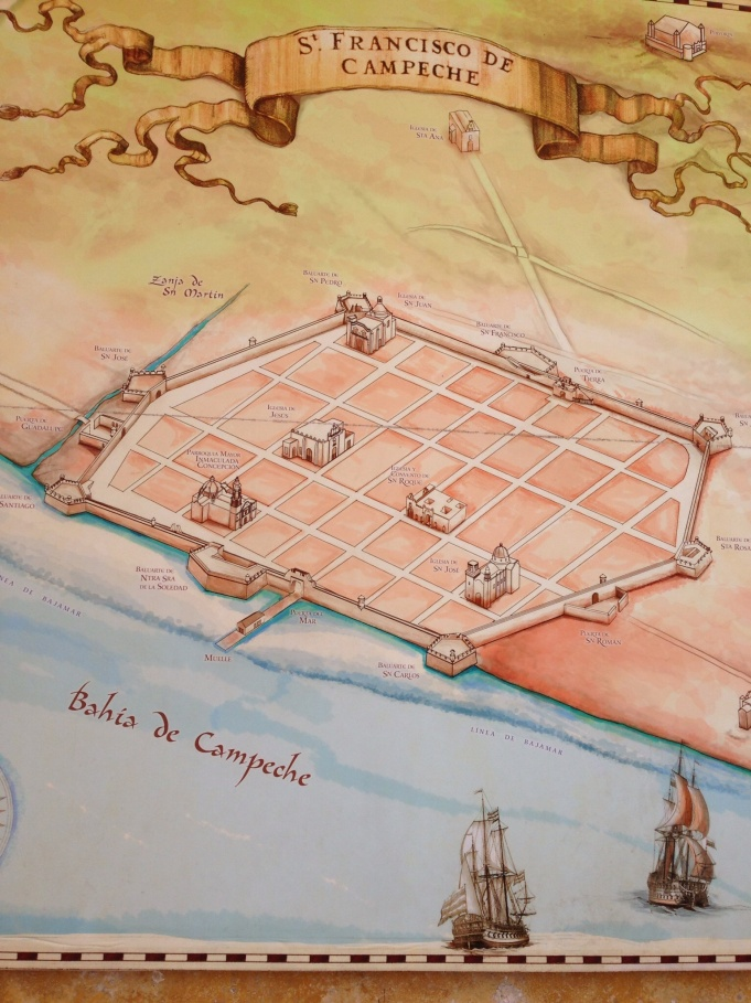 Map of Campeche city wall.