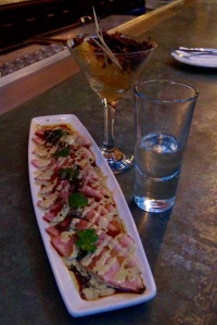 Hamachi and mezcal with accompaniments