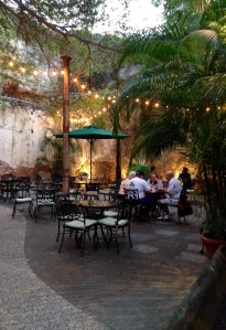 Old Colonial courtyard dining at El Presidio